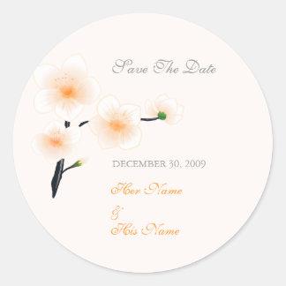 Orange Flowers Save The Date Classic Round Sticker