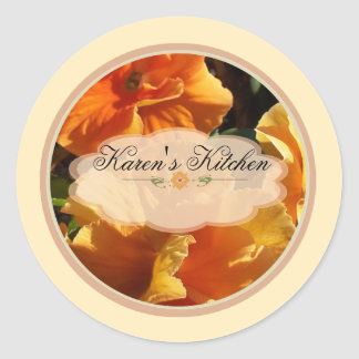 Orange Flowers Spice Jar Labels C Round Stickers