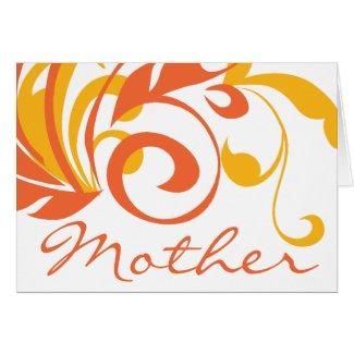 Orange Flowers Swirls Mother's Day Cards