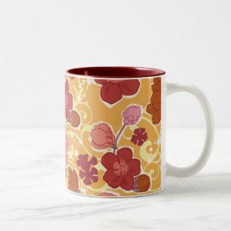 Orange flowers Two-Tone coffee mug