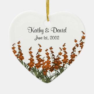 Orange Flowers Wedding Ceramic Ornament