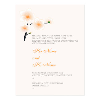 Orange Flowers Wedding Invitation Card