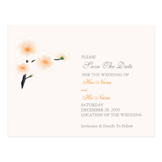 Orange Flowers Wedding/Save The Date Card
