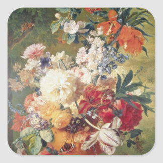 Orange Flowers with Butterfly, Flemish flowers Square Sticker