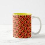 Orange Fluer de Lis Cup Two-Tone Coffee Mug