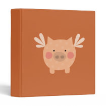 Orange Flying Pig Binder