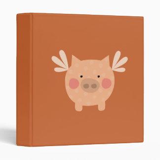 Orange Flying Pig Binder