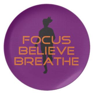 Orange Focus Believe Breathe Running Dinner Plate