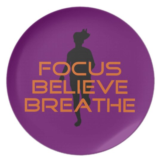 Orange Focus Believe Breathe Running Dinner Plate