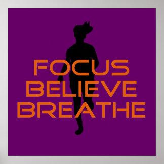Orange Focus Believe Breathe Running Poster