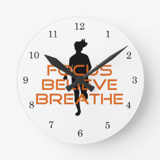 Orange Focus Believe Breathe Running Round Clock