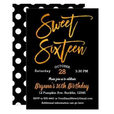 Halloween Themed Orange Foil Sweet 16 Halloween Party Black White Card