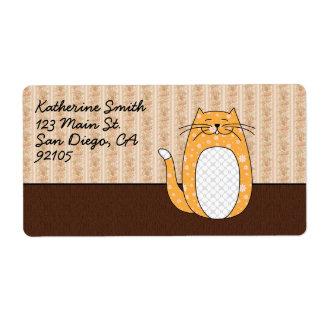 'Orange Folk Art Cat' Custom Shipping Label