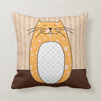'Orange Folk Cat' Pillow