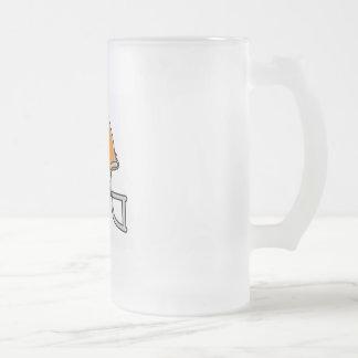 Orange Football Helmet Frosted Glass Beer Mug