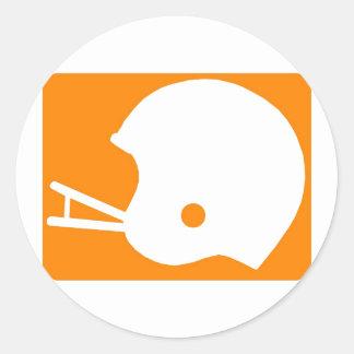 Orange Football Helmet Logo Classic Round Sticker