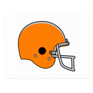 Orange football helmet postcard