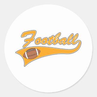 Orange football logo classic round sticker
