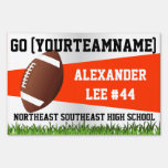 Orange Football Yard Sign, Custom Name/School