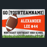 """Orange Football Yard Sign, Custom Name/School Sign<br><div class=""""desc"""">Orange and White. Stake this football yard sign in your lawn to cheer on your favorite school sports football player.  Easy to customize the name online and order with no minimum. Show team spirit and root on your varsity or junior varsity team member.</div>"""