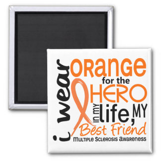 Orange For Hero 2 Best Friend MS 2 Inch Square Magnet
