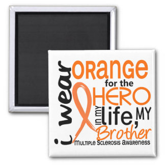 Orange For Hero 2 Brother MS Multiple Sclerosis 2 Inch Square Magnet