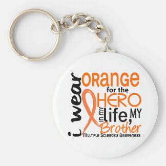 Orange For Hero 2 Brother MS Multiple Sclerosis Basic Round Button Keychain