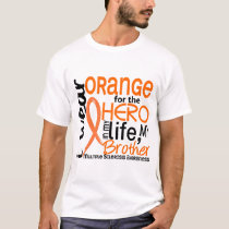 Orange For Hero 2 Brother MS Multiple Sclerosis T-Shirt