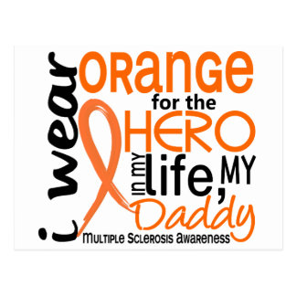 Orange For Hero 2 Daddy MS Multiple Sclerosis Postcard