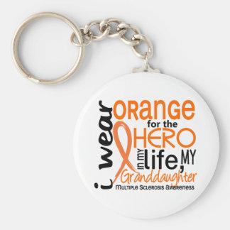 Orange For Hero 2 Granddaughter MS Basic Round Button Keychain