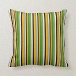 [ Thumbnail: Orange, Forest Green, Grey, White, and Black Throw Pillow ]