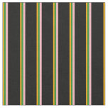 [ Thumbnail: Orange, Forest Green, Light Pink & Black Lines Fabric ]