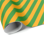 [ Thumbnail: Orange & Forest Green Stripes/Lines Pattern Wrapping Paper ]