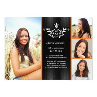"Orange Formal Graduation Announcement Too 5"" X 7"" Invitation Card"