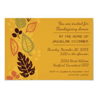 Orange Formal Leaves-3x5Thanksgiving Dinner Invite