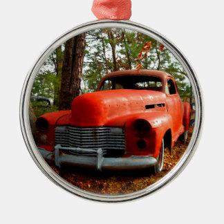 Orange Forties Junk Yard Sedan Christmas Tree Ornaments