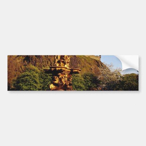 Orange Fountain and tulips, Edinburgh Castle, Scot Bumper Sticker