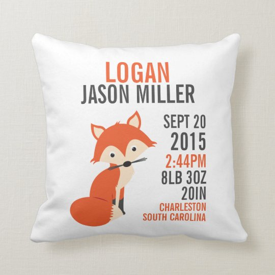 Orange Fox Birth Announcement Nursery Pillow Zazzle Com