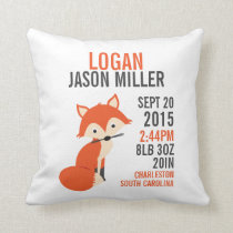 Orange Fox Birth Announcement Nursery Pillow