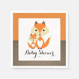 Orange Fox Burlap Baby Shower Napkin