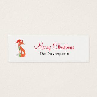 Orange Fox in Red Santa Hat Merry Christmas Mini Business Card
