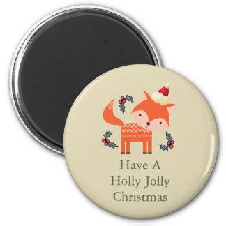 Orange Fox In Santa Hat Cute Whimsical Christmas Magnet