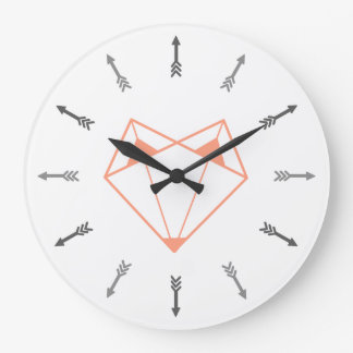 Orange fox large clock