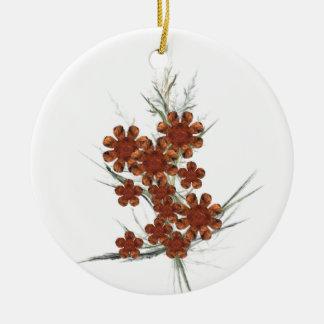 Orange Fractal Art Bouquet Ceramic Ornament