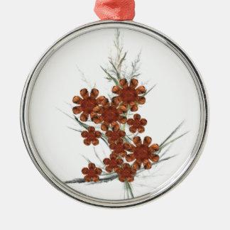 Orange Fractal Art Bouquet Metal Ornament