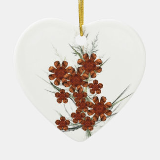 Orange Fractal Art Bouquet Christmas Tree Ornaments