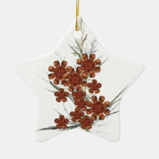 Orange Fractal Art Bouquet Ornament