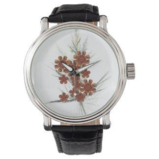 Orange Fractal Art Bouquet Wrist Watch