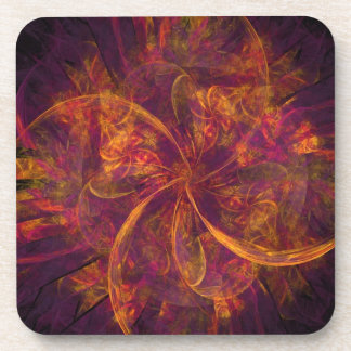 Orange Fractal Beverage Coaster