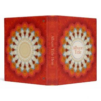 Orange Fractal Mandala Feather Wheel Album Binder binder